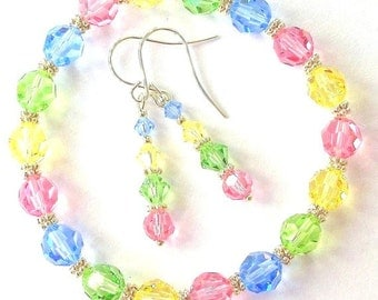 Swarovski crystal pastel bracelet and earrings, crystal Spring jewelry set, pink, blue, green, yellow bracelet and earrings, gift for her