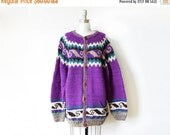 50% OFF SALE vintage wool cardigan, handmade purple cowichan cardigan, oversized chunky wool cardigan