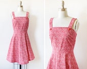 vintage red sundress, 60s red and white mini dress, 1960s extra small cotton dress