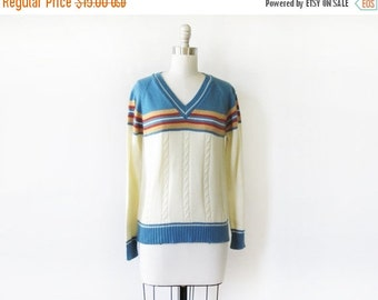 50% OFF SALE vintage 70s sweater, v neck striped cable knit sweater, small pullover sweater