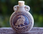 "RAVEN SPIRIT ""Artisan Alchemist""™ Raku Style Clay Potion Bottle - Totem of Wisdom, Prophecy, Divination, Oracle, Faery Seership, Witch Sight"