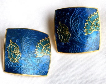 Vintage Nusi Blue and Gold Enamel Post Earrings