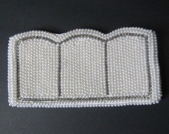 White Beaded Clutch Purse 50s Vintage Faux Pearl & Glass Bead Encrusted Evening Bag, Formal Handbag Bride Wedding Prom, 1950's Made in Japan