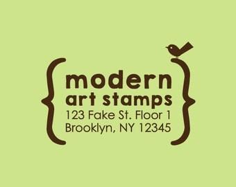 Custom Rubber Stamp   Custom Stamp   Return Address Stamp   Custom Address Stamp   Personalized Stamp   Brackets Stamp   Bird Stamp   C154