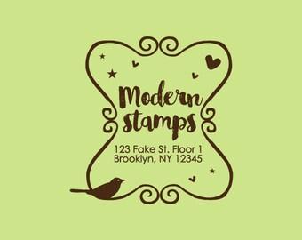 Custom Rubber Stamp   Custom Stamp   Return Address Stamp   Custom Address Stamp   Personalized Stamp   Frame with Bird Stamp   C167