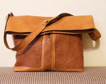 "ooak leather tote – lined handmade fashion bag - orange brick color bag with pockets - genuine leather bag ""ANATOLIA"""