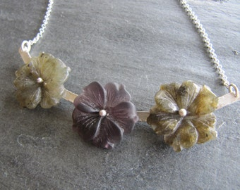 Carved Gemstone Flower Necklace in Sterling Silver with Labradorite and Amethyst