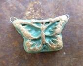 Artisan Celadon Boho Butterfly Handmade Ceramic Clay Pottery Jewelry Pendant Component
