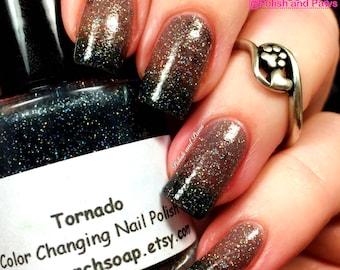 "Color Changing Thermal Nail Polish - FREE U.S. SHIPPING - ""Tornado"" - Black to Grey Color Changing"