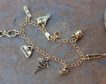 Medical charm bracelet - 14k gold filled chain, 22k gold plated charms - doctors, nurses, hospital, pharmacist, caduceus - Free Shipping USA