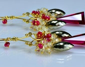 RESERVED-Red Topaz Chandelier Earrings Topaz Pyrite Ruby 14k Gold Filled Wire Wrapped Earrings