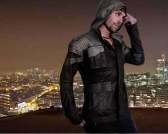 Havoc Jacket / Vest with Removable Hood, Two-Tone Leather