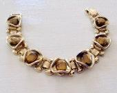 Vintage Midcentury Goldtone Tigers Eye Nugget Bookchain Bracelet New Old Stock NOS