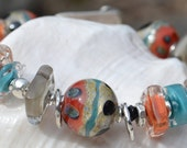Reserve for Patrice-RIVER WALK-Handmade Lampwork and Sterling Silver Bracelet