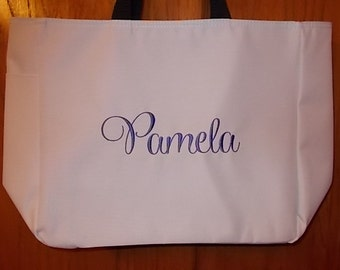 Set of 10 Personalized Embroidered Tote Bags Bridal Party Bridesmaid Gift