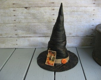 Halloween Decoration Primitive Witch Hat Shelf Sitter Halloween Party
