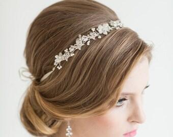 Crystal Ribbon Headband, Wedding Floral Headband, Bridal Rhinestone Headband, Ribbon Headband
