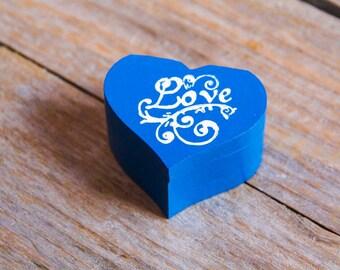 Royal Blue Wedding Ring Bearer Box - Nautical Wedding Wooden box Gift box Wedding decor gift idea