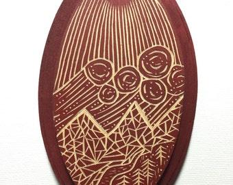 Hand Carved Camp Scene Wall Art / Woodcut