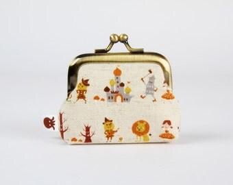 Tiny metal frame purse - Wizard of Oz - Deep baby / Fairy tales / brown orange grey / Oz castle / japanese fabric / Dorothy