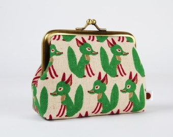 Metal frame change purse - Green foxes - Deep dad / violet emerald taupe beige / Japanese fabric