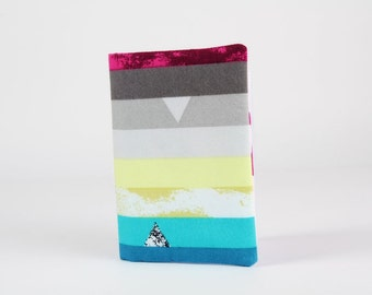Fabric card holder - Steps above in Moonbow / Avant Garde / Fuchsia black grey turquoise pale yellow stripes