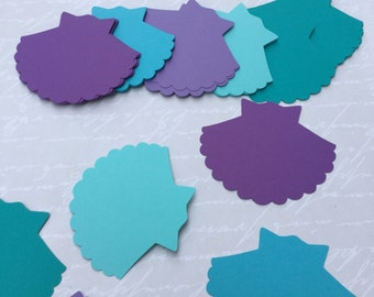Large paper die cut shells 25 mermaid birthday under the sea shower wedding decor purple aqua teal which card thank you tag