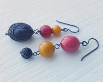 rosie loves punk - earrings - asymmetrical earrings, vintage Lucite and sterling silver