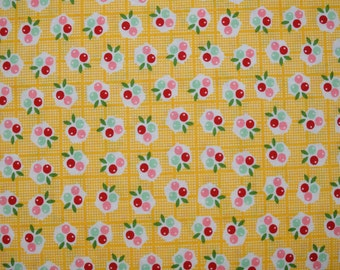 1/2 Yard of Yellow little cherries Fabric from the Backyard Roses Collection by Nadra Ridgeway for Riley Blake Fabrics