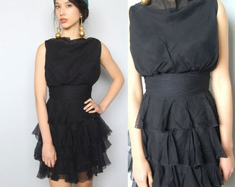 shimmyshake -- vintage 1960s black chiffon ruffled dress size S