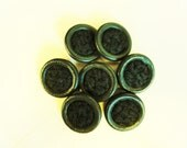 Green Fabric Covered Coat Buttons - Vintage - Set of 8