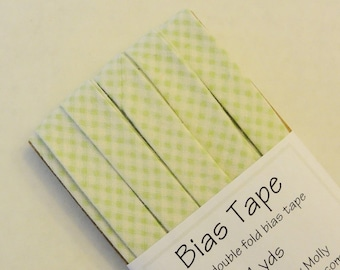 "Bias Tape - 4 yds - 1/2"" Double Fold - Light Green Gingham Plaid"