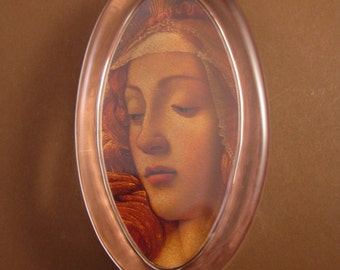 Sandro Botticelli's Madonna of the Magnificat Large Oval Glass Paperweight Renaissance Religious Art