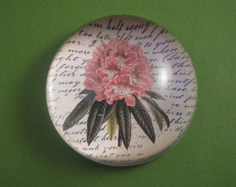 Pink Rhododendron Large Glass Dome Paperweight Botanical Illustration Floral Home Decor