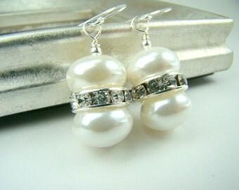 White pearl earrings, crystal pearl earrings, white and silver, pearl bridal earrings