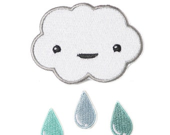 Cloud and Raindrops Iron-on Patch Kit