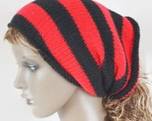 ON Sale Tube Hat Dread Sock Wrap Headband Dread Red and Black Band Small Medium Large