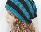 """ON Sale Knitted Slouchy Beanie Hat, black, teal, stripey, Larger Sized Dreads Hat, Knit Beanie, Slouch Hat 24"""" - 27"""""""