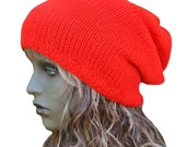 Knitted Oversized Bright Red Slouchy Beanie, Newborn - Adult Sizes,   Dreads