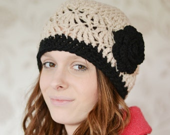 Womens stone Beanie Hat, Warm Chunky Hat, Crocheted with Flower