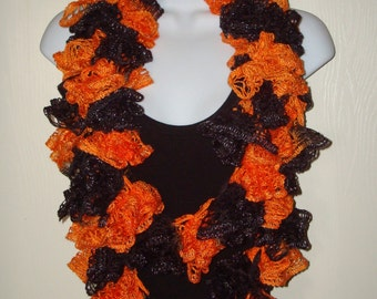 Fashion Infinity Ruffle Scarf Black & Orange/Women's Scarf/Women's Accessories/Ruffle Cowl/Ruffle Neck warmer/Fashion Accessory/Neckwrap