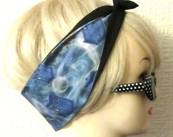 Dr Who Tardis Hair Tie Head Scarf by Dolly Cool Comic Book Strip