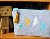 Gorgeous teal & mustard Joel Dewberry Atrium  'Flying Geese' patchwork pouch pencil case zippered pouch