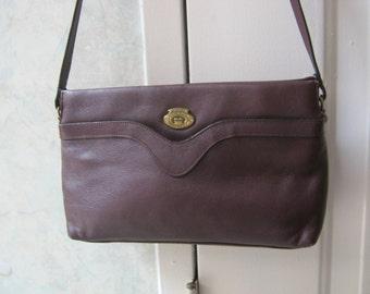 Vintage dark burgundy leather shoulder bag, Etienne Aigner maroon leather multi pocket purse, classic Aigner oxblood leather handbag new