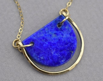 Petite Lapis Lazuli Slice Pendant with 14k Gold Fill