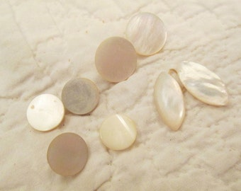 8 Mother of Pearl Buttons Vintage