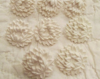 8 Vintage Drapery or Curtain Flower Pins White