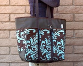 Brown and Teal Blue Market Tote, Wine Bag, Shopping Bag or Diaper bag PEACEFUL RETREAT