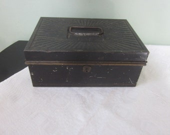 Antique Metalware Cash Strong Box with Fluted Top Rolled Edges