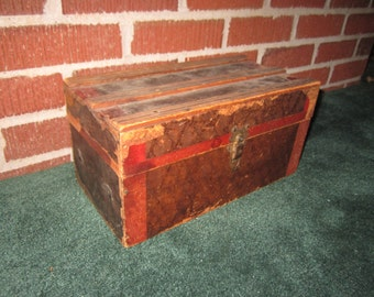Antique Charming Wooden Doll Trunk from Midwest Estate